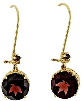 14K Rose Gold and Red Garnet Dangle Earrings
