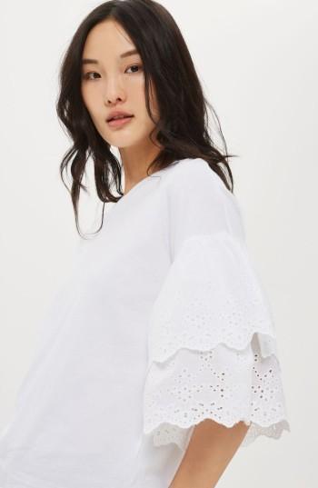 Women's Topshop Eyelet Layer Sleeve Tee T-Shirt 5