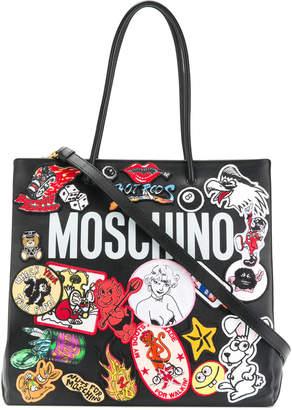 Moschino logo patch tote bag