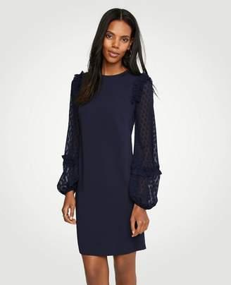 Ann Taylor Petite Sheer Dot Sleeve Shift Dress