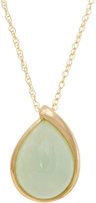 """Pear Shaped Jade Pendant on 18"""" Chain 14K Gold"""