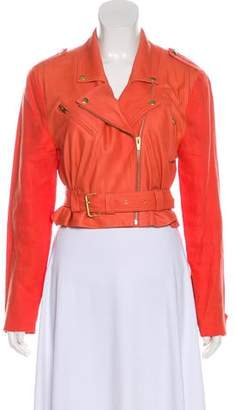 Veda Leather Notched-Lapel Coat