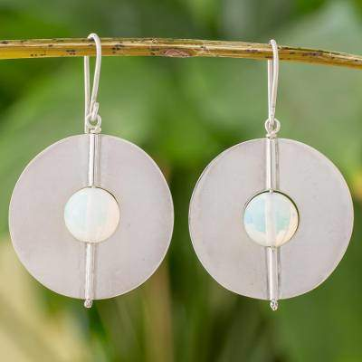 Opal and Sterling Silver Dangle Earrings from Nicaragua, 'Full Moons'
