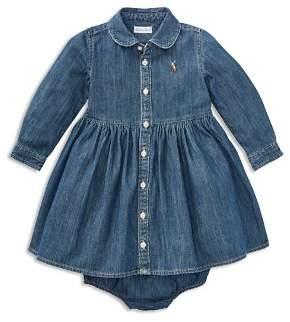 Ralph Lauren Girls' Long Sleeve Denim Dress & Bloomers Set - Baby