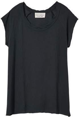 Nili Lotan Short Sleeve Baseball Tee in Washed Black