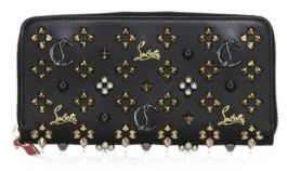 Christian Louboutin  Christian Louboutin Panettone Logo-Detail Studded Leather Zip-Around Wallet