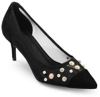 Co Brinley Womens Mesh Faux Pearl Embellished Pumps