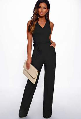 Pink Boutique Coming Up Easy Black Ribbed Wide Leg Jumpsuit
