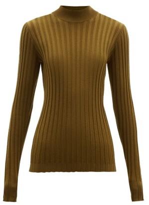 a0df18637adbb4 Bottega Veneta Wide Rib Knitted Wool Blend Sweater - Womens - Dark Green