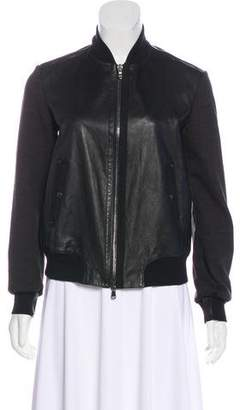 Frauenschuh Knit Sleeve Leather Jacket