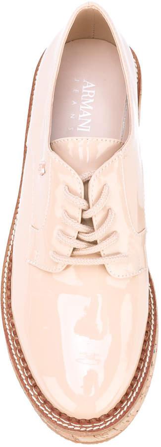 Armani Jeans patent platform lace up shoes