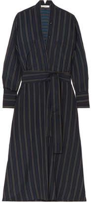 Vince Belted Striped Crepe De Chine Midi Dress - Black