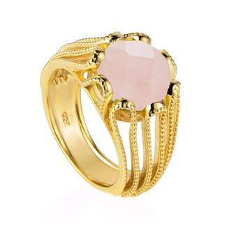 Neola - Alessia Gold Cocktail Ring With Rose Quartz