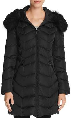 T Tahari Gwen Faux Fur Trim Quilted Puffer Coat