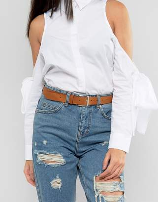 Asos Leather Silver Buckle Waist And Hip Belt