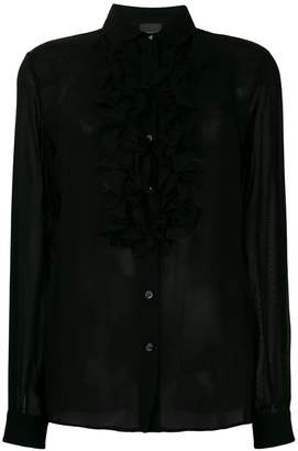 Just Cavalli frill-trim fitted blouse