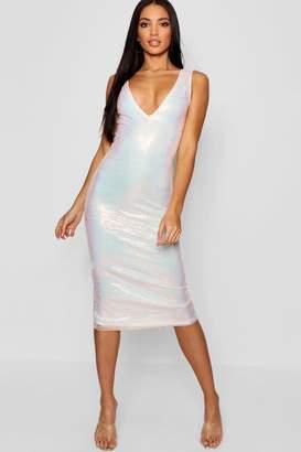boohoo Iridescent Sequin Midi Dress