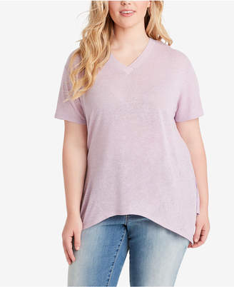 Jessica Simpson Juniors' Plus Size Handkerchief-Hem T-Shirt