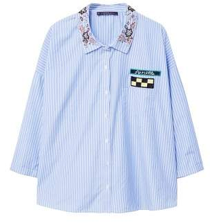 Violeta BY MANGO Patches striped shirt