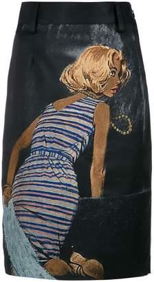 Prada painted midi skirt