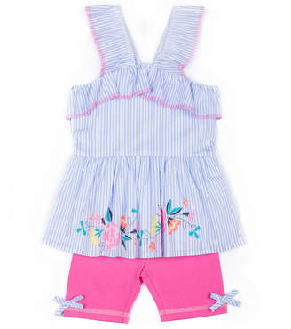 Little Lass Floral & Stripe Tank Top Legging Set-Preschool Girls