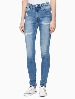 Calvin Klein skinny high rise georgia distressed jeans