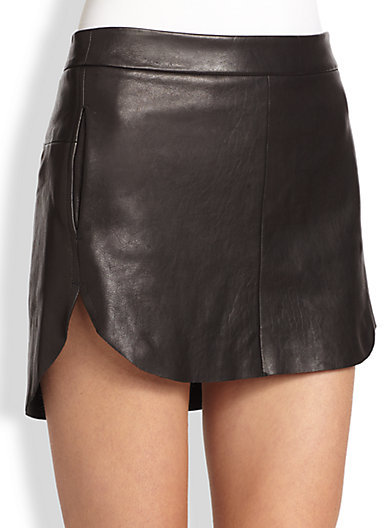 Mason by Michelle Mason Leather Hi-Lo Mini Skirt