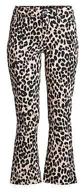 Paige Women's Colette High-Rise Leopard Kick Flare Jeans