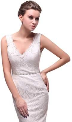 Rosemary Women's Thin Bridal Bridesmaid Dresses Sash Belts Jewlled Crystal