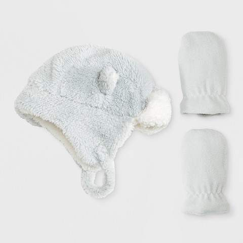 Cat & Jack Baby Boys' Trapper Hat and Mitten Set - Cat & Jack Gray 9-12M
