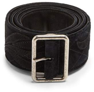 Saint Laurent Floral Applique Suede Belt - Womens - Black