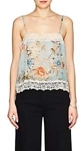 Icons Women's Lace-Trimmed Floral Chiffon Cami - Lt. Blue