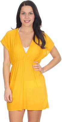 Simplicity Beach and Pool Party Cover Up Dress w/ V Neck, Short, Yellow