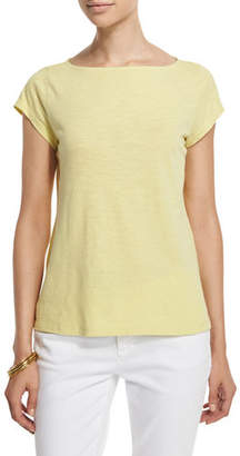 Eileen Fisher Cap-Sleeve Organic Cotton Slub Top, Plus Size