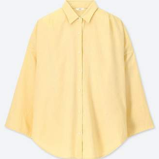 Uniqlo WOMEN Linen Blended 3/4 Sleeve Blouse