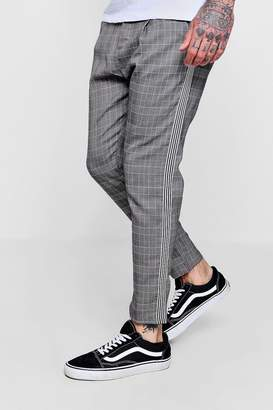 boohoo Smart Checked Cropped Jogger With Taping