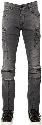 15.5cm Faded Stretch Denim Biker Jeans $560 thestylecure.com
