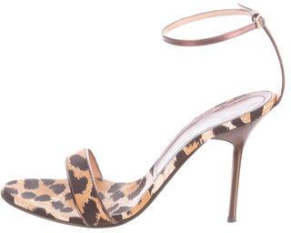 Casadei Leopard Printed Satin Sandals $85 thestylecure.com