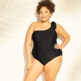 Kona Sol Women's Plus Size Bow-Tie One Shoulder One Piece Swimsuit - Kona Sol
