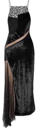 Jason Wu Asymmetric Embellished Lace Swiss-Dot Tulle And Velvet Maxi Dress