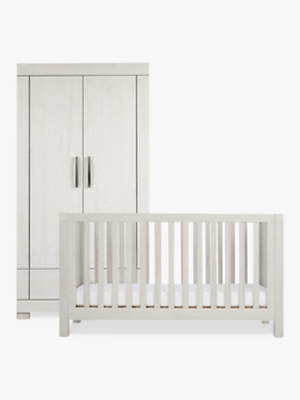 Silver Cross Coastline Cotbed and Wardrobe, Textured Washed Oak