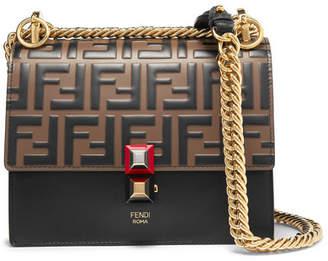 Fendi Kan I Small Embossed Leather Shoulder Bag - Black ce8a148256d40