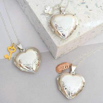 Mia Belle Sterling Silver Large Heart Charmed Locket