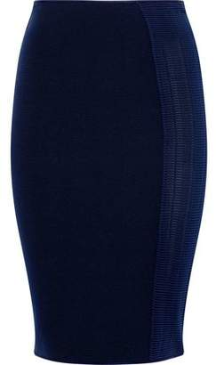 Giorgio Armani Crochet-Paneled Ribbed-Knit Skirt