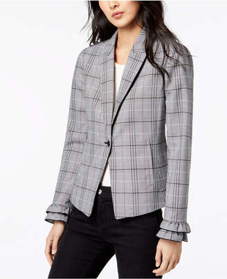 Maison Jules Menswear Plaid Fitted One-Button Jacket