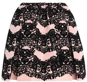 RED Valentino Flared Flocked Faille Mini Skirt