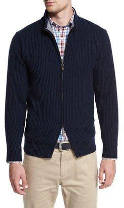 Peter Millar Hawthorne Cotton-Cashmere Full-Zip Cardigan, Barchetta Blue $478 thestylecure.com