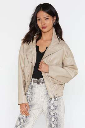Nasty Gal Oversized PU Jacket with Pocket Detail