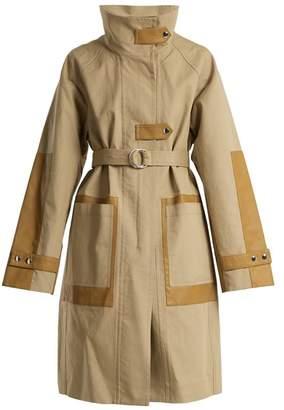 Yves Salomon Contrast-panel tie-waist cotton-blend coat