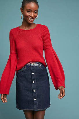 Levi's Embroidered Button-Front Denim Skirt
